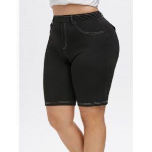 Plus Size Topstitching Faux Pockets Shorts