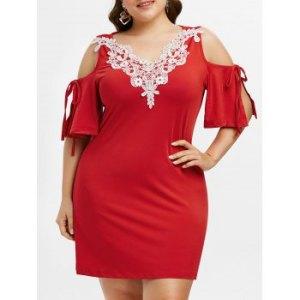 Plus Size Open Shoulder Contrast Lace Mini Dress