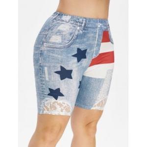 American Flag Lace Panel 3D Print Plus Size Jeggings