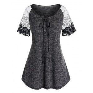 Plus Size Lace Panel Lace Up T Shirt