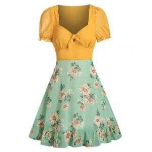 Floral Print Knot Front Chiffon Dress