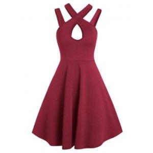 Plain Keyhole Strappy Mini Cami Dress