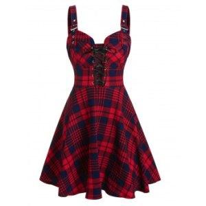 Plaid Print Lace-up Buckle Strap Sleeveless Dress