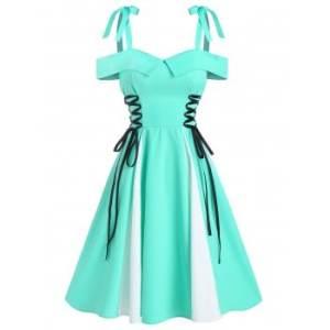 Cold Shoulder Lace-up Flare Dress