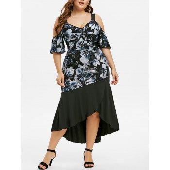 Plus Size Floral Print Cold Shoulder Twist Dress