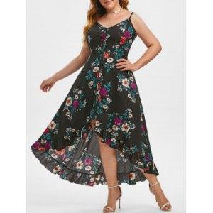 Plus Size Button Down High Low Dress