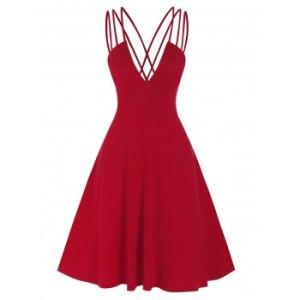 Low Cut V Neck High Waist Backless Dress