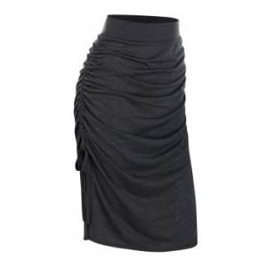 Ruched Slit Side Drawstring Skirt