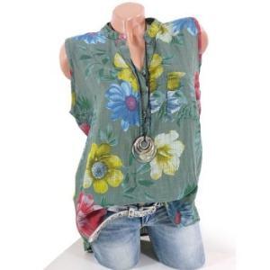 Plus Size Half Button Floral Print Pocket Shirt