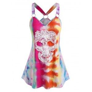 Plus Size Skull Lace Tie Dye O Ring Tank Top