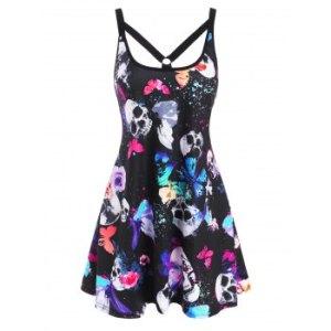 Skull Butterfly Print O Ring Strappy Tank Dress