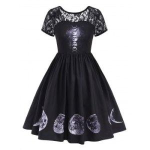 V-back Lace Panel Moon Print Halloween Plus Size Dress