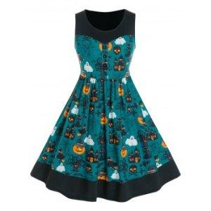 Plus Size Halloween Pumpkin Print A Line Dress