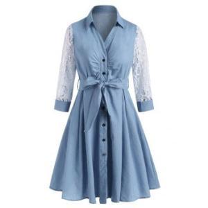 Lace Sleeve Chambray Belt Shirt Dress