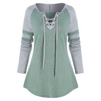Contrast Lace-up Raglan Sleeve T-shirt