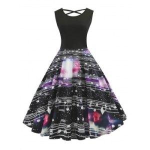 Lattice Back Musical Note Galaxy Print Dress