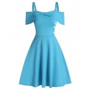 Cold Shoulder Mock Button Marled Dress