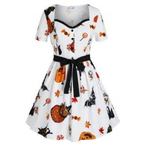 Plus Size Halloween Pumpkin Skull Bats Mini Dress