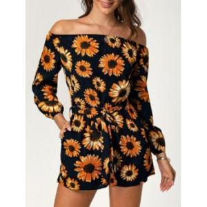 Off The Shoulder Sunflower Print Belted Romper