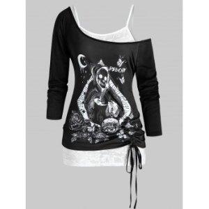 Plus Size Halloween Skull Skew Collar T-shirt and Cami Top Set