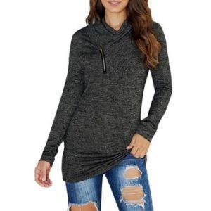 Heather Zipper V Neck Knitwear