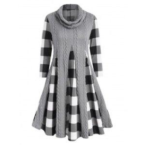 Cowl Neck Cable Knit Panel Plaid Dress