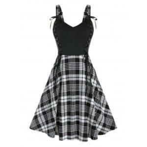 Plus Size Plaid Lace-up Bowknot A Line Dress