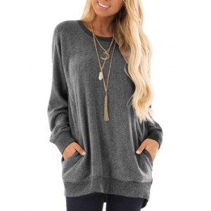 Raglan Sleeve Pocket High Low Tunic Sweater