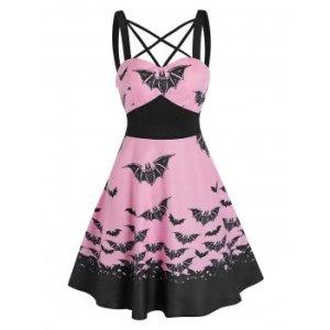 Front Strappy Bat Print High Waist Mini Cami Dress