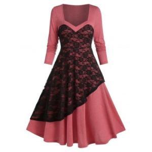 Layered Lace High Waist A Line Dress