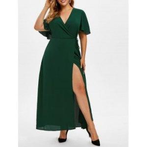 Plus Size Low Cut High Slit Maxi Dress