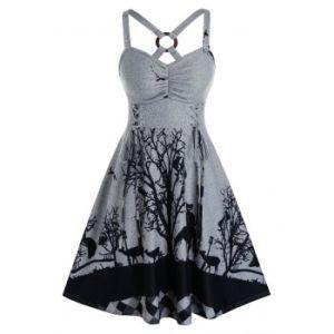 Plus Size Lace-up Cat Branch Graphic Cutout Knit Dress