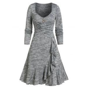 Criss-cross Layered Flounce A Line Dress