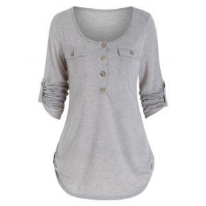 Round Collar Buttons Roll Up Sleeve T-shirt
