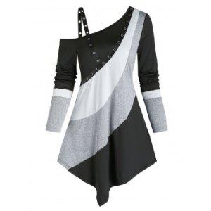 Colorblock Open Shoulder Grommet Asymmetrical Longline T Shirt