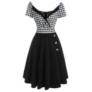 Plaid Mock Button Surplice Dress