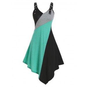 Colorblock Midi Asymmetric Cami Dress