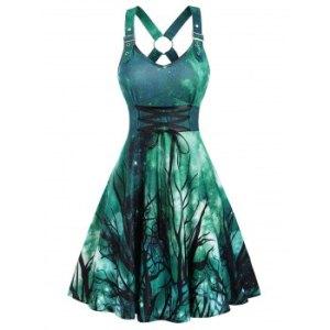 Trees Galaxy Print Lace Up Back Criss-cross Dress