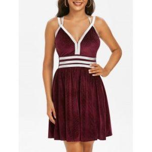 Metallic Thread Strap Velvet Ribbed Dress