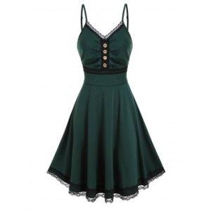 Lace Trim Ruched High Waist Cami A Line Dress