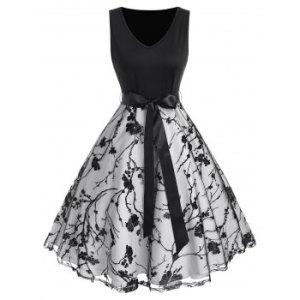 Floral Mesh Ribbon Bowknot A Line Dress