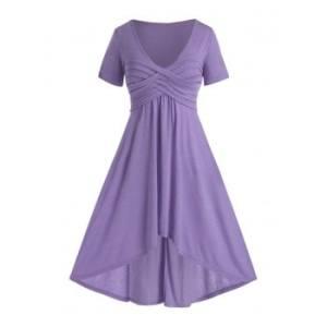 Plus Size Ruched Dip Hem Plunge Long Dress