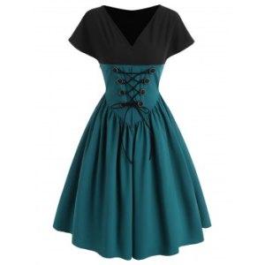 Bicolor Lace Up Button V Neck Vintage Dress