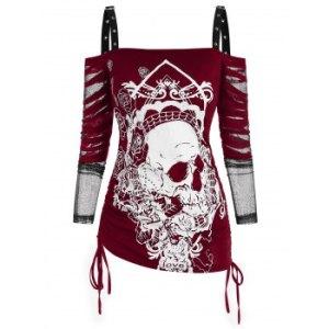 Halloween Buckled Skull Floral Cinched Mesh Sleeve Cold Shoulder Top