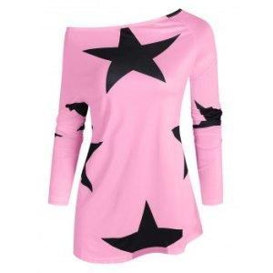 Skew Collar Star Print Top