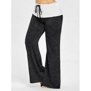 Drawstring Waist Plus Size Wide Leg Pants