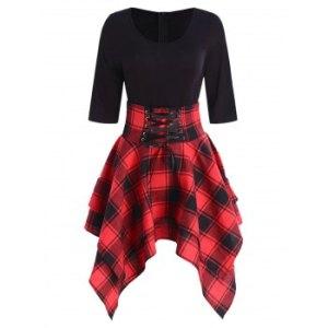 Lace Up Plaid Asymmetrical Dress