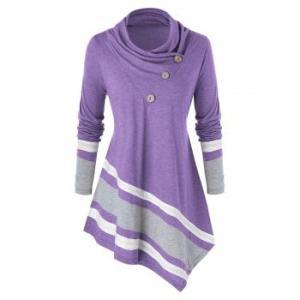 Plus Size Asymmetrical Contrast Trim Cowl Neck T-shirt