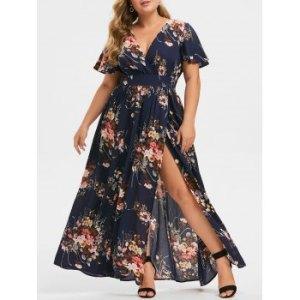 Plus Size Plunging Neck Floral Split Maxi Dress