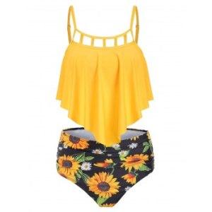 Cut Out Sunflower Overlay Tankini Set